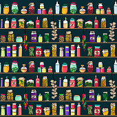 A colorful hand drawn seamless pattern. Pantry shelves filled with preserve jars and ristras. Food, preserves, jams, drinks, fruit, vegetables.... EPS10 vector illustration, global colors, easy to modify.