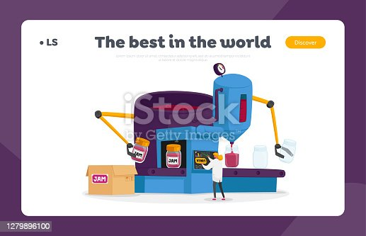 Preserving of Products on Plant Landing Page Template. Woman Character Control Preservation of Jam to Jars at Automated Manufacture Robotics Machine Make Berry Dessert. Cartoon Vector Illustration