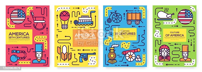 President Abraham Lincoln day with historical XIX (19) century elements flat icon set. Vector  national culture traditions. Art traditional, magazine, book, poster, abstract, banners, element.