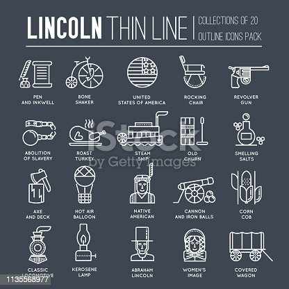 President Abraham Lincoln day with historical XIX (19) century elements thin line icon set. Vector people and traditional of USA object outline cover concept design. National culture traditions.