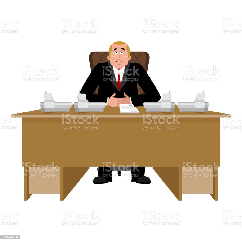 President at desk. Big boss at table. Director in office. Chief Worker Room royalty-free president at desk big boss at table director in office chief worker room stock vector art & more images of adult