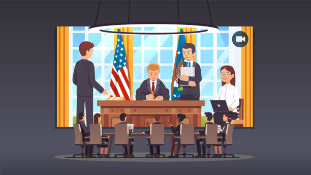 US president at oval office video conference call with business and government officials sitting in big board room. Flat style isolated vector Government officials boardroom meeting video conference talking to United States president sitting at his desk signing law act document in White House oval office. Flat style vector illustration us president stock illustrations