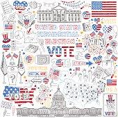 2016 USA President Election hand drawn set.