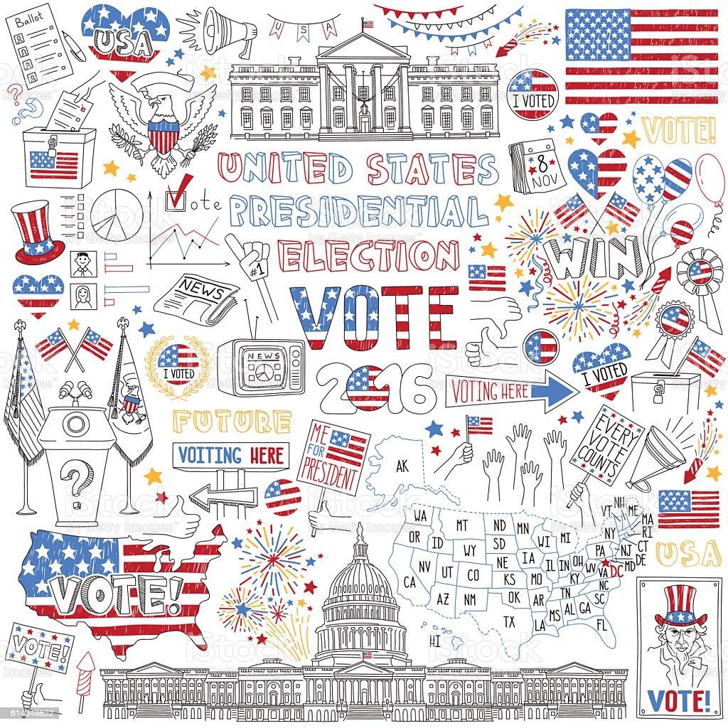 2016 USA President Election hand drawn set. vector art illustration