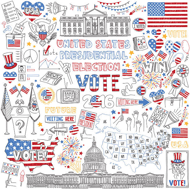 2016 USA President Election hand drawn set. Political campaign and voting attributes, patriotic symbols, american flags and maps  collection. Vector hand drawn objects isolated on white background. white house stock illustrations