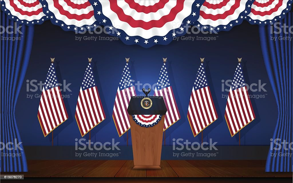 President podium on stage with flagstaff on back vector art illustration