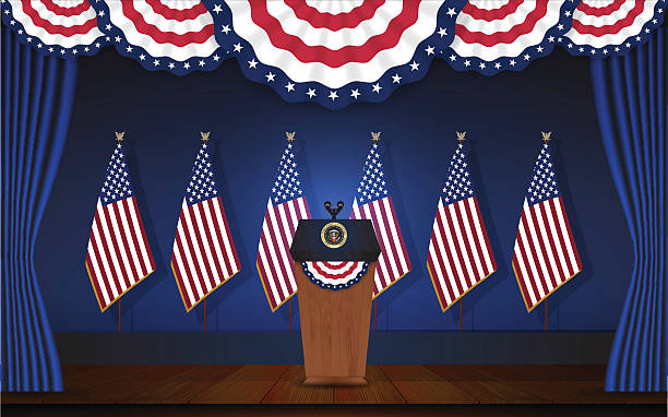 President podium on stage with flagstaff on back President podium on stage with flagstaff on back and semi-circle flag on top. Open curtain stage with blue background and wooden floor. Vector illustration president stock illustrations