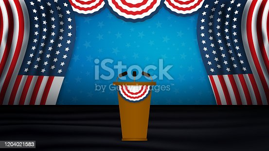 istock USA President podium on stage with semi-circle decorative flag on top. Background for President's Day, Independence Day, Election Day in US. Vector illustration 1204021583