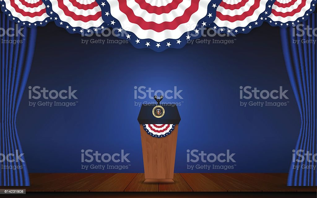 USA President podium on stage with semi-circle decorative flag
