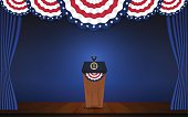 USA President podium on stage with semi-circle decorative flag
