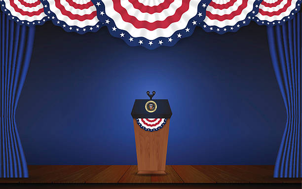 USA President podium on stage with semi-circle decorative flag USA President podium on stage with semi-circle decorative flag on top. Open curtain stage with blue background scene. Vector illustration president stock illustrations