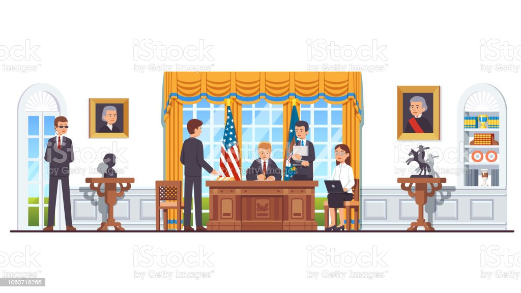 US president sitting at desk at White House oval office working with secretary assistants and ministers signing legislation act or law. United States president's room interior. Flat style isolated vector vector art illustration