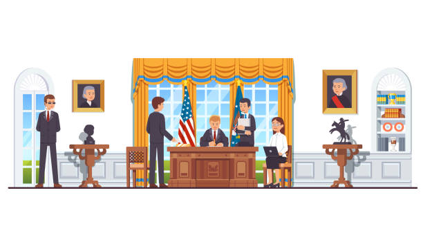 US president sitting at desk at White House oval office working with secretary assistants and ministers signing legislation act or law. United States president's room interior. Flat style isolated vector United States president sitting at his desk signing law act document in White House oval office with secretary, minister, officials, bodyguard. US president office interior. Flat vector illustration white house stock illustrations