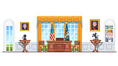 US white house oval office with USA and president flags, desk, windows, decorations. United States government presidential room interior Flat style vector illustration isolated on white background
