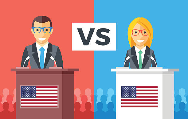 Presidential debates. Candidates at rostrums, US flags. USA presidential elections Presidential debates. Candidates at rostrums with United States flags. People silhouettes behind. Man and woman discussing politics. USA presidential elections concept. Flat design vector illustration presidential candidate stock illustrations