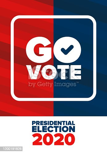 istock Presidential Election 2020 in United States. Vote day, November 3. US Election. Patriotic american element. Poster, card, banner and background. Vector illustration 1200191826