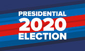 istock Presidential Election 2020 in United States. Vote day, November 3. US Election. Patriotic american element. Poster, card, banner and background. Vector illustration 1204033457