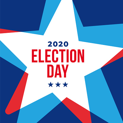 Presidential Election 2020 in United States. Vote day, November 3. US Election. Patriotic American element. Poster, card, banner and background. Vector illustration.