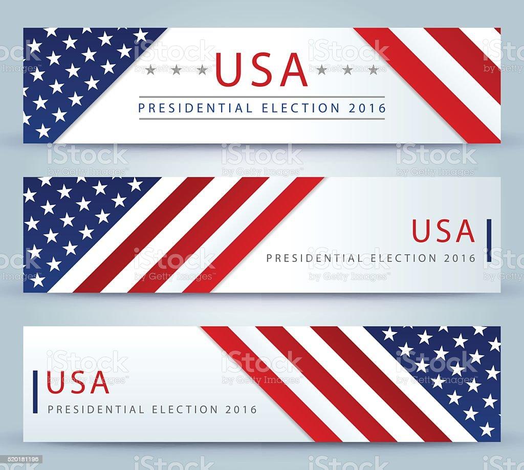 米国大統領選挙バナーの背景 ベクターアートイラスト
