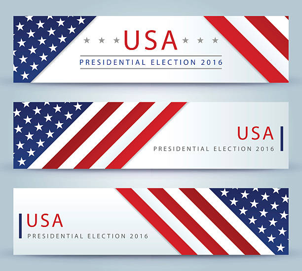 bildbanksillustrationer, clip art samt tecknat material och ikoner med usa presidential election banner background - patriotism