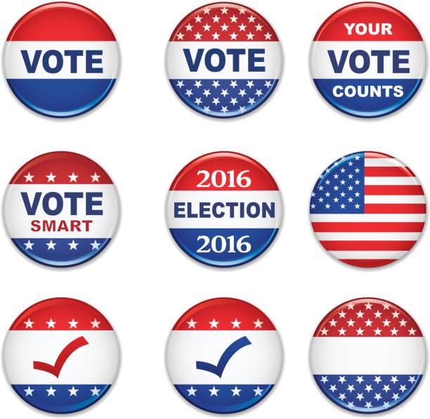 ilustrações, clipart, desenhos animados e ícones de eua eleição presidencial botões de 2016 - pin
