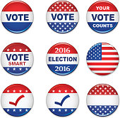 USA Presidential Election Buttons - 2016