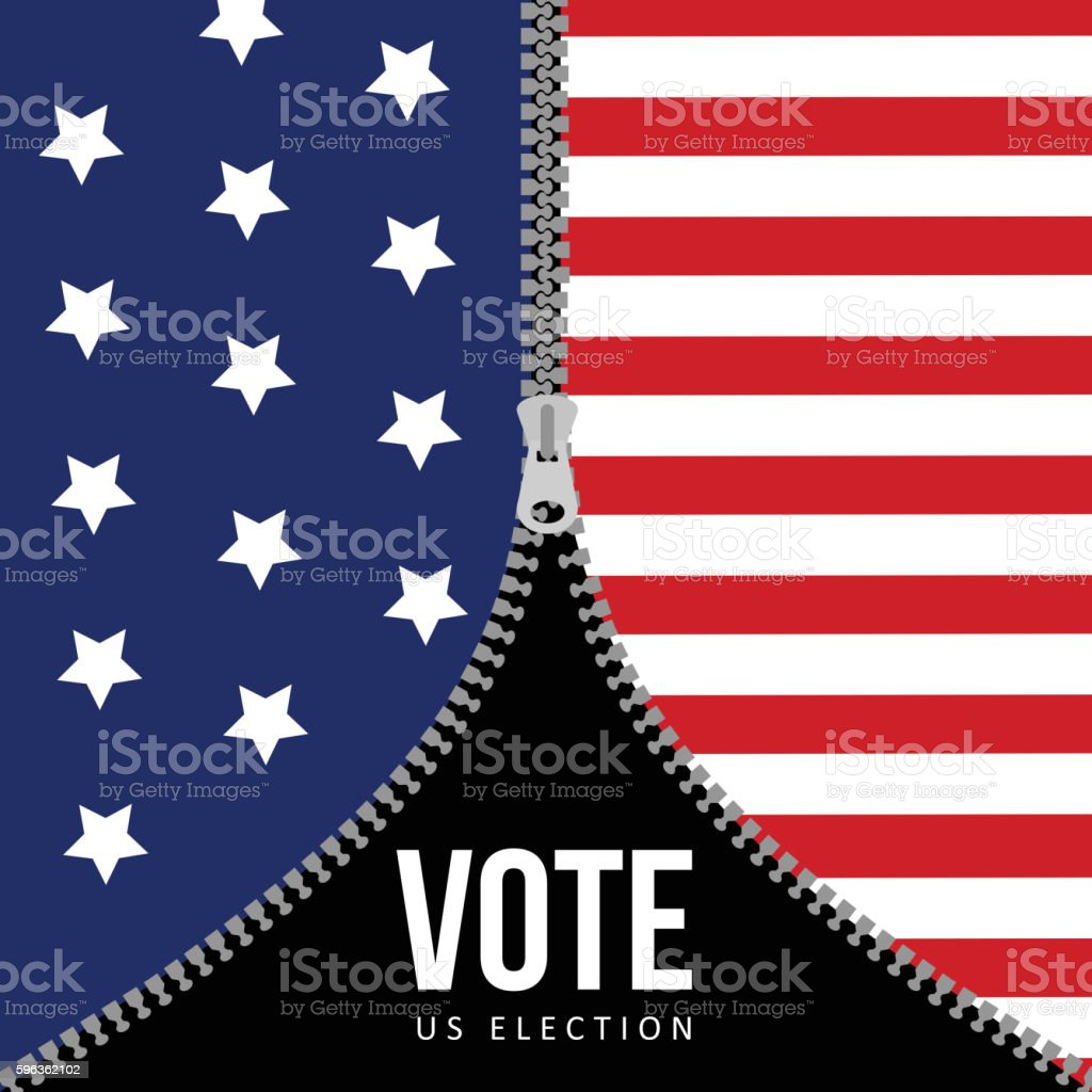 US presidential election concept. USA flag background with zipper. royalty-free us presidential election concept usa flag background with zipper stock vector art & more images of american culture