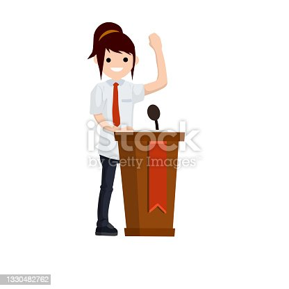 istock Presidential election. Female politician stands behind the podium. Woman speech. Debate and discussion. Lecturer at lecture in suit. Cartoon flat illustration 1330482762