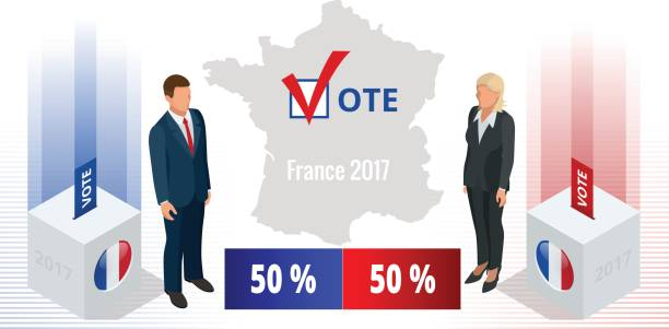 presidential election in france 2017, ballot box in front - presidential debate stock illustrations