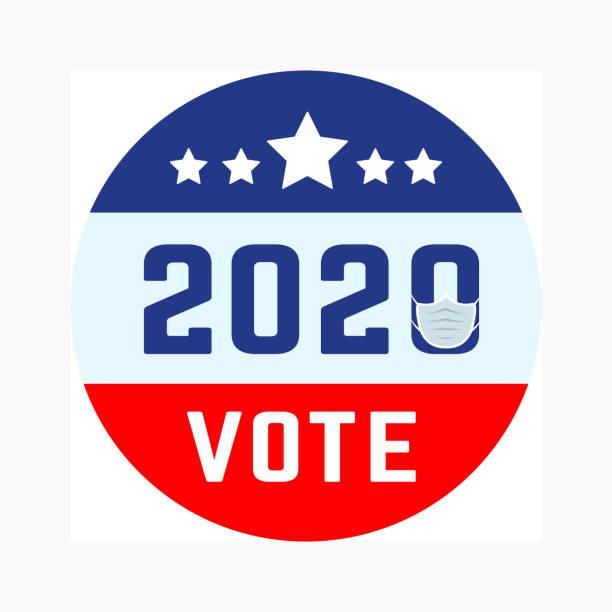 coronavirus salgını bağlamında abd başkanlık seçimleri. covid-19. çevrimiçi oylama seçeneği. tıbbi maskeli vektör illüstrasyonu - election stock illustrations