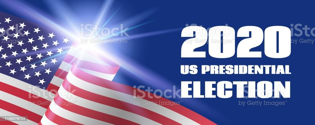2020 Us Presidential Election Long Banner Vector Template With Usa Flag Stock Illustration Download Image Now Istock