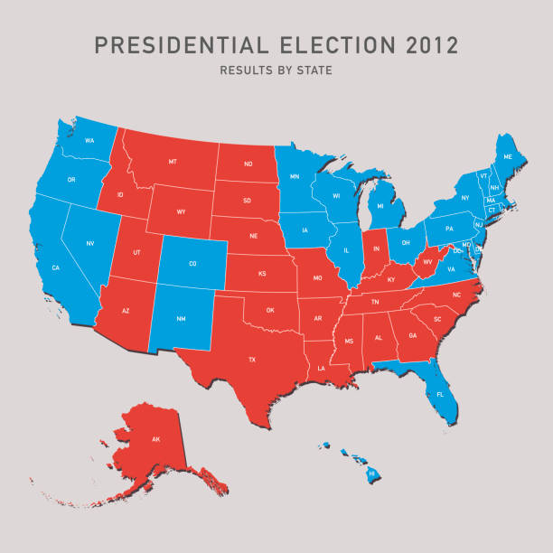 Presidential Election Map 2012 USA Presidential Election Map 2012 USA. All source data is in the public domain. Made with Natural Earth.  http://www.naturalearthdata.com/about/terms-of-use/ 2012 stock illustrations