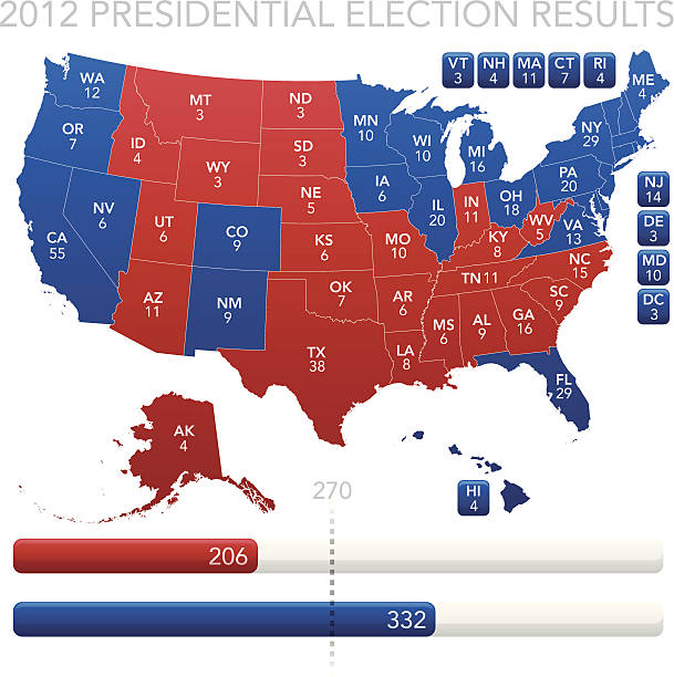 Presidential Election Results 2012 Highly-detailed 2012 United States Presidential election results map with each state colored to show who won. Blue for Barack Obama. Red for Mitt Romney. EPS 10 file. Transparency used on highlight elements. labeling stock illustrations
