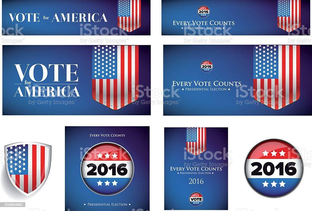 USA presidential election set 2016 vector banner vector art illustration