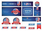 USA presidential election set 2016 vector banner