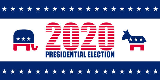 2020 Presidential election template 2020 Presidential election vector template with traditional parties symbols over white us president stock illustrations