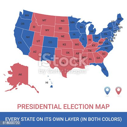 istock Presidential Election USA Map 518000720