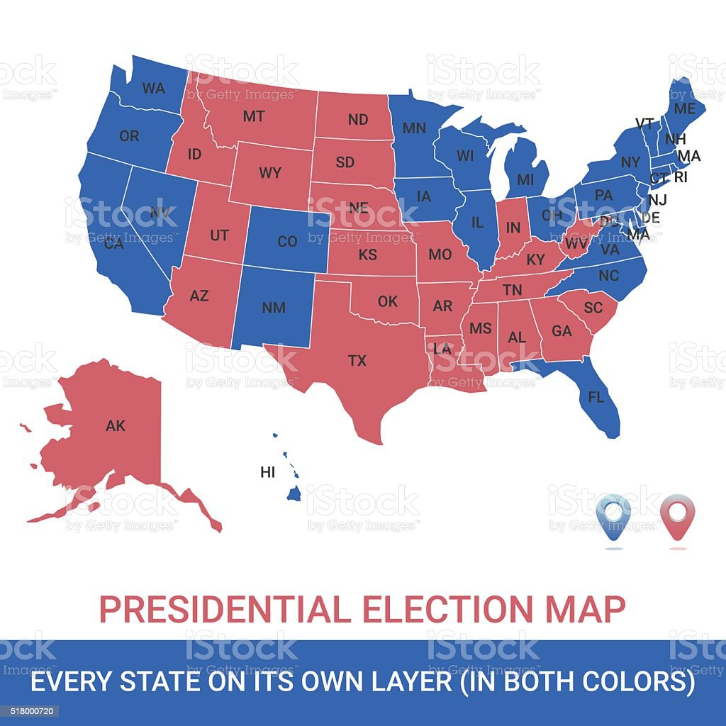 Presidential Election USA Map vector art illustration