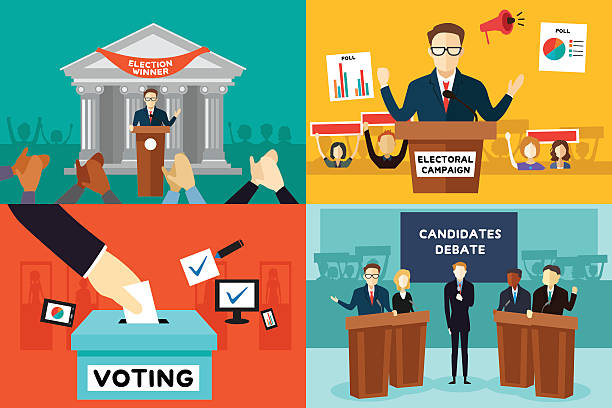Presidential Election A vector illustration of presidential election poster debate stock illustrations