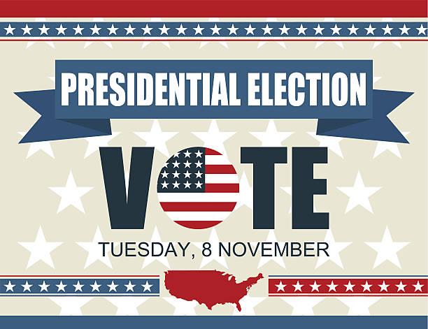 Presidential election Presidential election poster background. USA 2016 8 november. Vector illustration presidential candidate stock illustrations