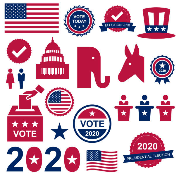 US Presidential Election vector set USA Presidential Election 2020 stickers, labels and icons political party stock illustrations