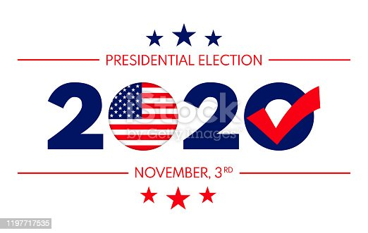 Vector of US presidential election banner with text and elements in the style of national flag.