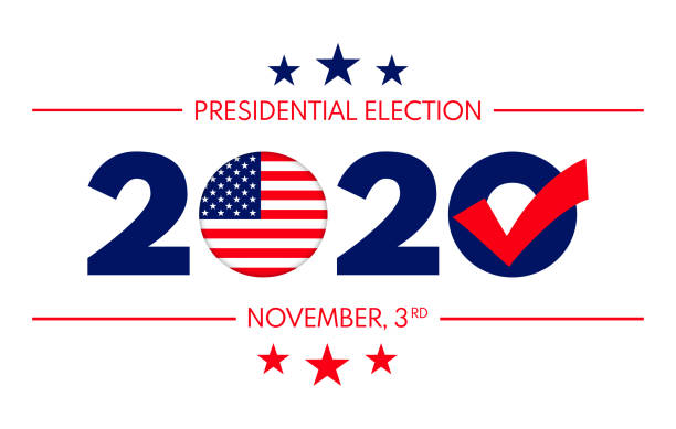 2020 Presidential Elections background. Banner for US elections, voting concept vector illustration. Vector of US presidential election banner with text and elements in the style of national flag. election stock illustrations