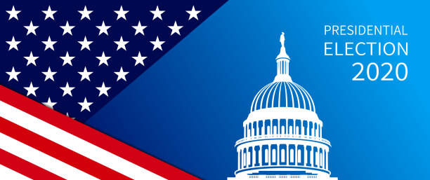 2020 Presidential Elections background. Banner for US elections, voting concept vector illustration. Vector of 2020 US presidential election banner with The Capitol building, text and USA flag elements. us president stock illustrations