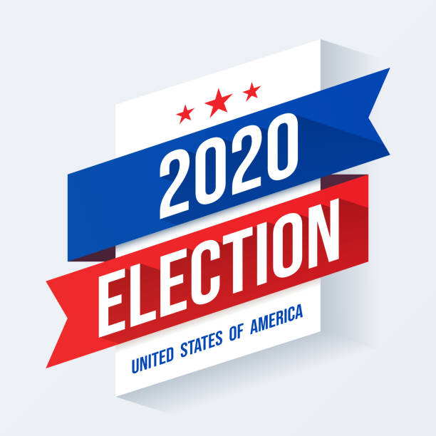 2020 Presidential Elections background. Poster for US elections, voting concept vector illustration. Vector of US presidential election poster with text and USA flag elements. election stock illustrations
