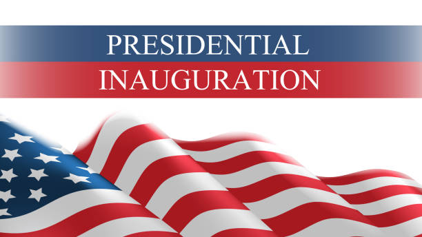 USA presidential inauguration day celebration concept greeting card with united states of america USA presidential inauguration day celebration concept greeting card with united states of america flag horizontal banner vector illustration inauguration stock illustrations