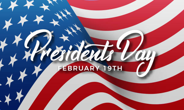 presidents day. banner for usa presidents day holiday. usa national flag and lettering - presidents day stock illustrations, clip art, cartoons, & icons