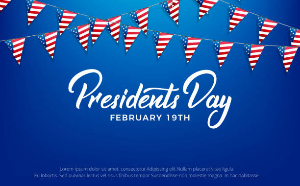 presidents day. banner for usa presidents day holiday - presidents day stock illustrations, clip art, cartoons, & icons