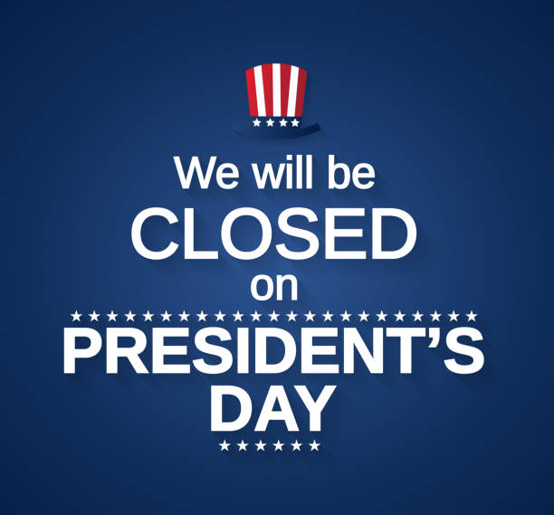 stockillustraties, clipart, cartoons en iconen met voorzitters dag kaart met hoed. wij zullen worden gesloten. vectorillustratie. - dicht