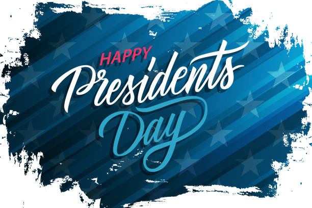 usa presidents day celebrate banner with brush stroke background and hand lettering text happy presidents day. united states national holiday. - presidents day stock illustrations, clip art, cartoons, & icons